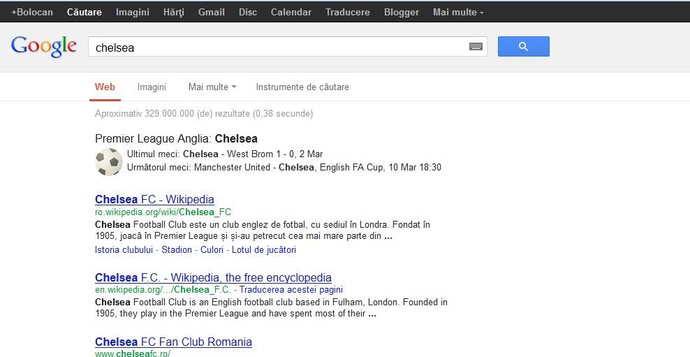 Google ofera informatii sportive in cautari